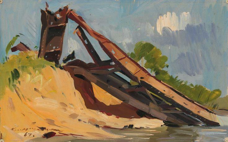 'Bombed out railway bridges 1967', oil on canvas on hardboard, 30.5 x 48.3 cm.  #kenmcfayden #vietnamoncanvas #sandrafingerlee #vietnamwar #warart #railway