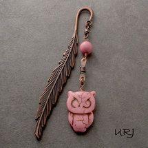 Pink Owl copper bookmark