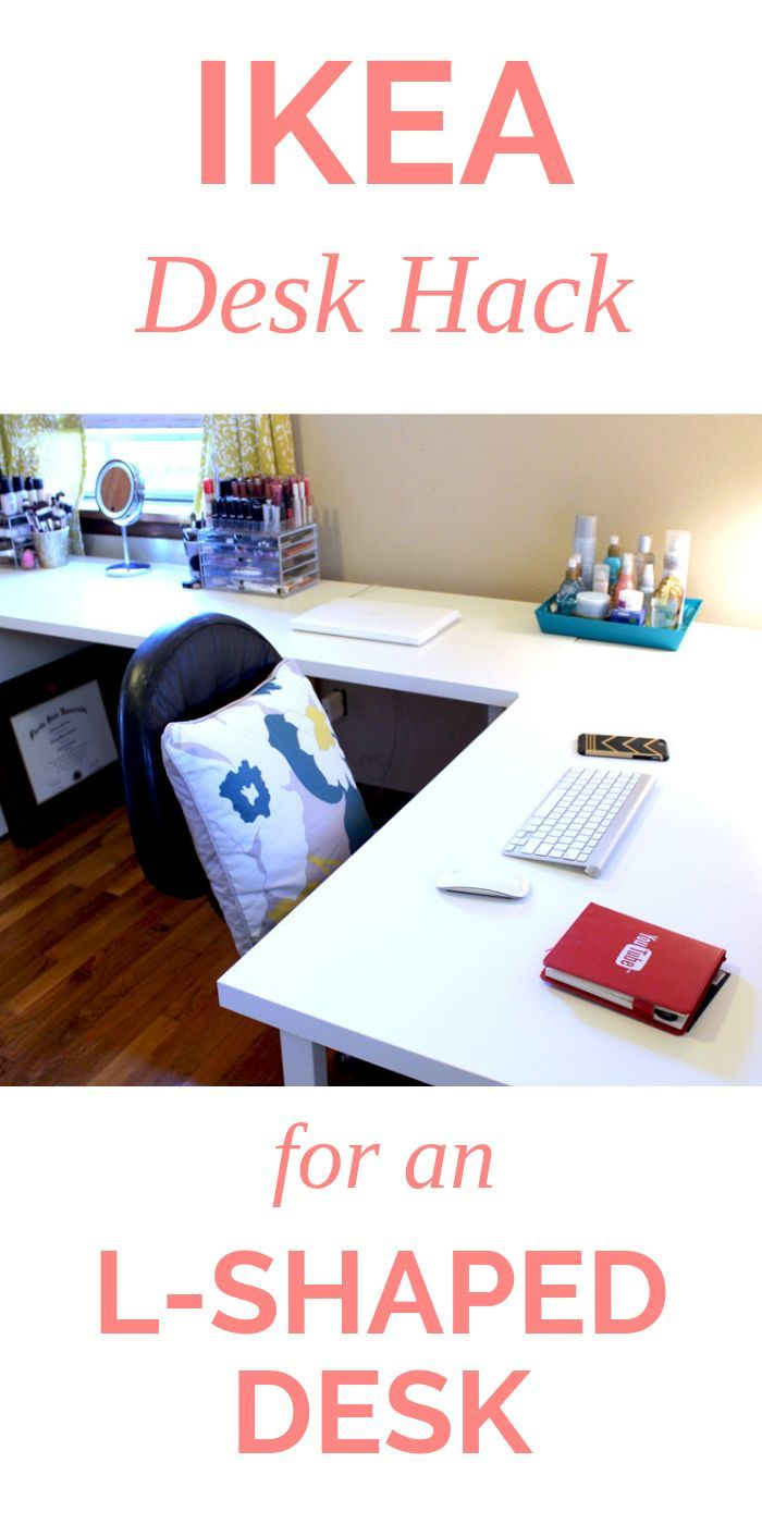 Affordable White L Shaped Desk Follow My Ikea Hack For This Office Desk Setup Using Two Linmon Desks And An L Shaped Desk Ikea L Shaped Desk Ikea Office Desk