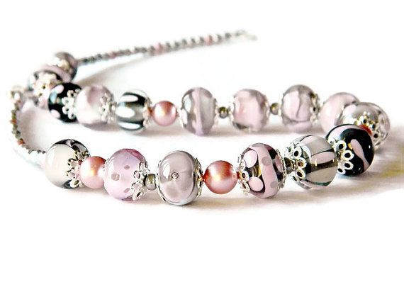 Pink Grey Lampwork necklace Romantic glass by MarianneMerceria