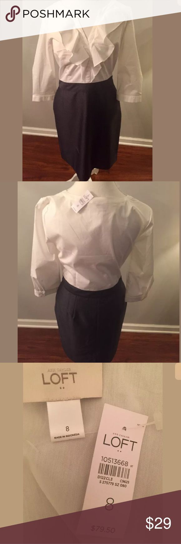 NWT Ann Taylor LOFT Career Dress New with tags! Ann Taylor LOFT career dress. Women's size 8. White ruffle cotton-blend top with dark gray pencil skirt look at bottom. Very classy. Comes from a smoke free and pet free home. LOFT Dresses Long Sleeve
