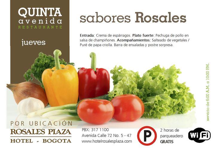 Disfrute de nuestros mejores sabores, en un menú delicioso. #MenúSemanal www.hotelrosalesplaza.com