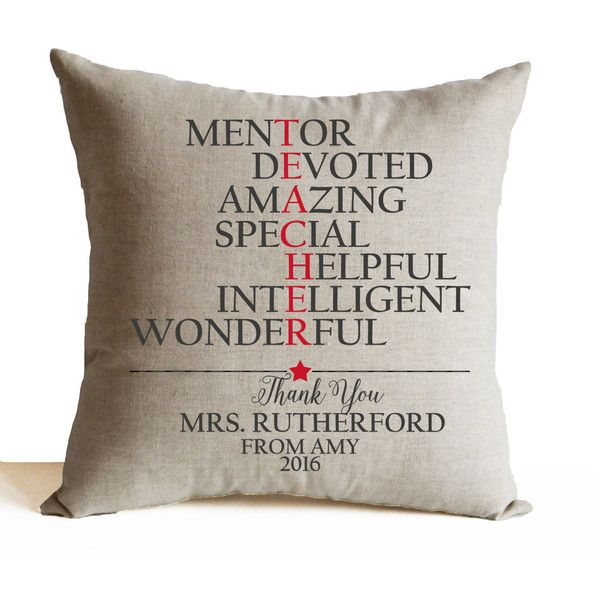 Preschool Teacher Gift- Mentor Gift- Personalized Teachers Gift-... (1,635 INR) via Polyvore featuring home, home decor, throw pillows, accent pillows, bed pillows, cushion cover decorative pillows, decorative throw pillows, dorm décor, personalized home decor and personalized throw pillows
