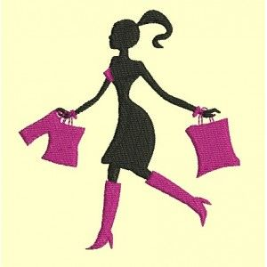 femme en silhouette shopping - cadre 10x10cm