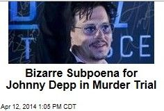 Latest News:  Bizarre Subpoena for Johnny Depp in Murder Trial.  Well, this is strange: Johnny Depp has been subpoenaed in a murder case, and it's all because the suspect claims she was in a relationship with him when the crime took place and was on her way to meet him at the time.  Get all the latest news on your favorite celebs at www.CelebrityDazzle.com!