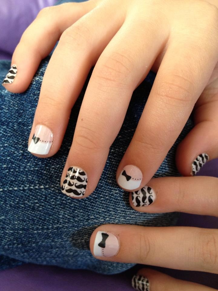Everyone is totally into the mustache thing right now!  These are actually Jamberry Juniors- they are made to fit little ones up to 8 years old.  My 5 year old loves them!   www.IamPaintless.JamberryNails.net #NailArt #NailDesign #Manicure #mustache