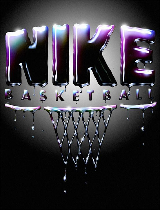I like the way the light to dark in the background does not upstage the darkness of Nike. I also like how it fades from blue to purple to black almost in a radial fill. The dripping of the paint in the design reflects all the blood, sweat, and tears that take place in the game of basketball.