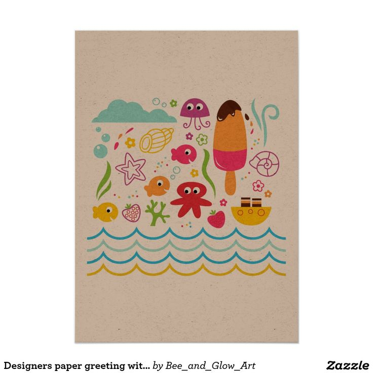 Designers paper greeting with Mare creatures Card