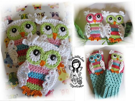 Crochet PATTERN - Applique Coloured Owl