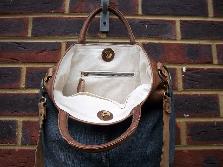 Leather/denim bag tan leather and stone wash by LoulousEmporium