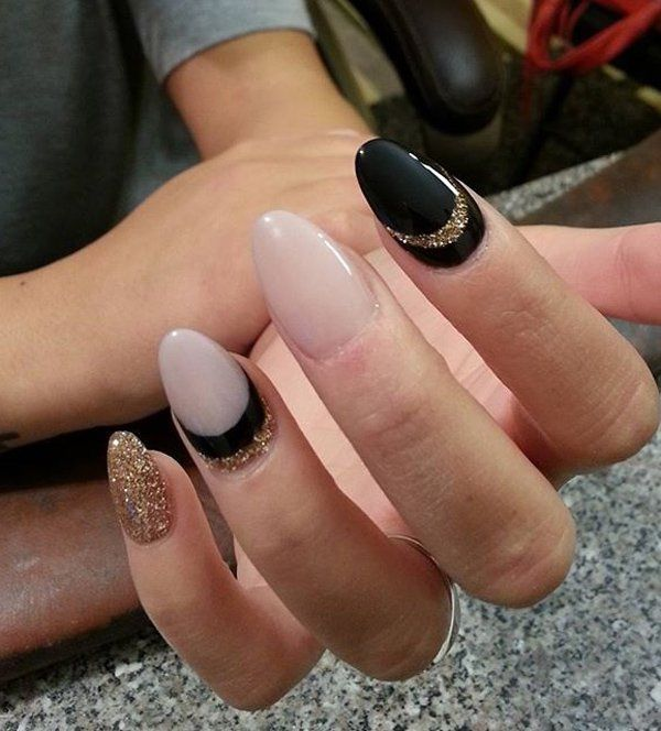 This one is more on the challenging nail arts but it doesn't mean you can't get this look. It's easier if you have more experience with nail art. You can layer three nail polishes on crescent moon nail idea through the help of stencils.