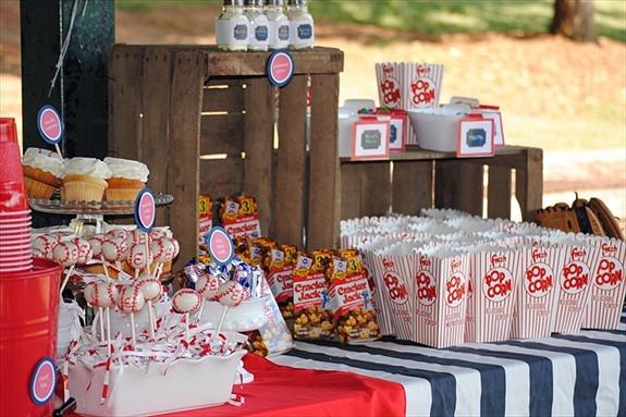 Baseball Party Concession Stand...cake balls that look like baseballs?!  Ahh!!