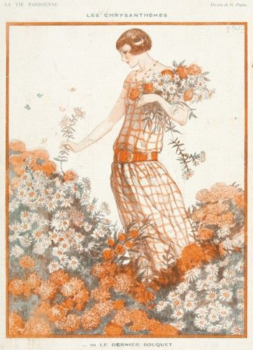 PAVIS, G. La Vie Parisienne - Les Chrysanthemes. Original magazine illustration from La Vie Parisienne published Paris, 1923.