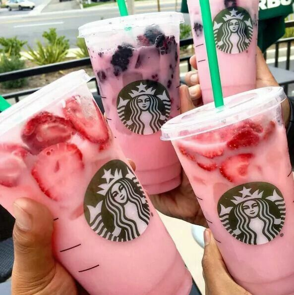 """Pink Drink"" - Strawberry Acai Refresher with coconut milk and fresh berries"