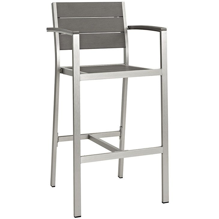 modway furniture modern shore outdoor patio aluminum bar stool in silver gray