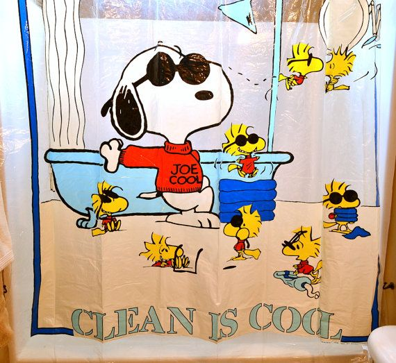 Vintage Peanuts Snoopy Shower Curtain Bathroom Decor