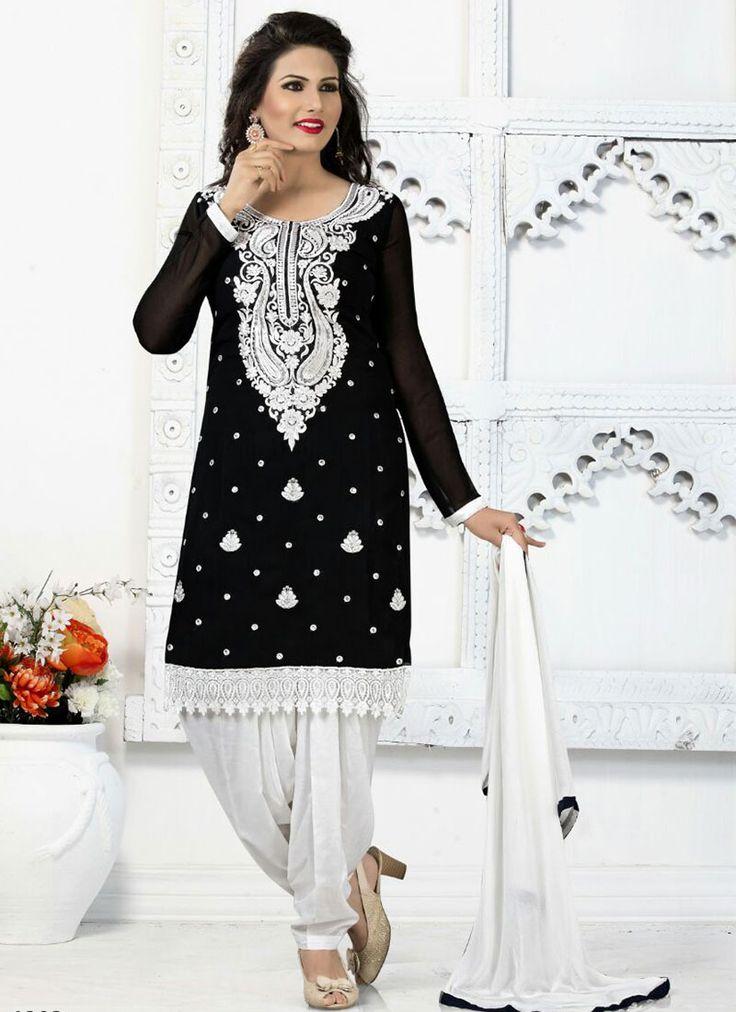 Sensible Black Georgette Patiala Suit - Luxefashion Internet Inc