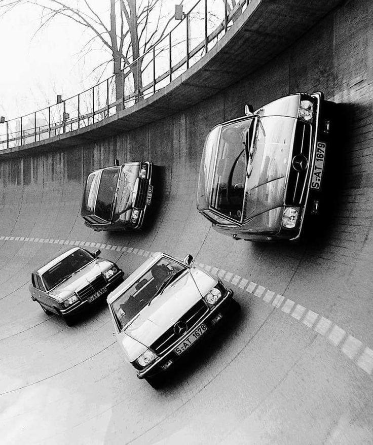 Mercedes models banking on the test track at Unterturkheim, in Stuttgart