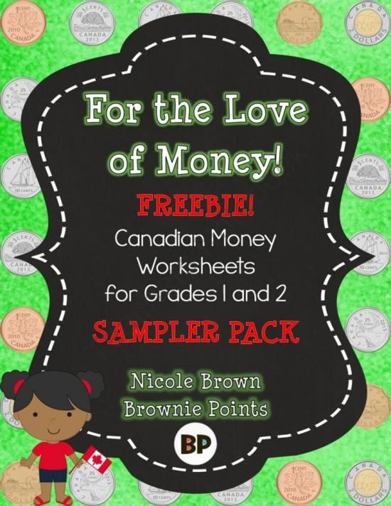 Canadian Money Worksheets - Freebie! from BrowniePoints on TeachersNotebook.com - (6 pages) - This freebie includes 6 worksheets for teaching money to students in grades one and two.
