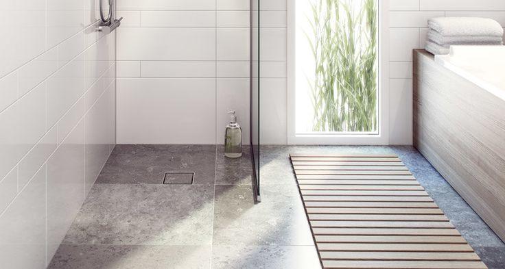 Puruksen laatta-neliökannen ansiosta lattiakaivo saa yhtenäisen ilmeen laatoituksen kanssa.