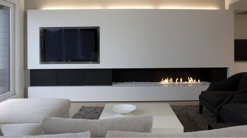 Contemporary fireplace (gas open hearth) URBAN MF 2400-40 G 2S R Metalfire checking to see if we can use the open flame, linear style fireplace in CO. The unit for the fireplace is so large that a tv can't be mounted in a recessed fashion above these. Has to be offset, as shown here.