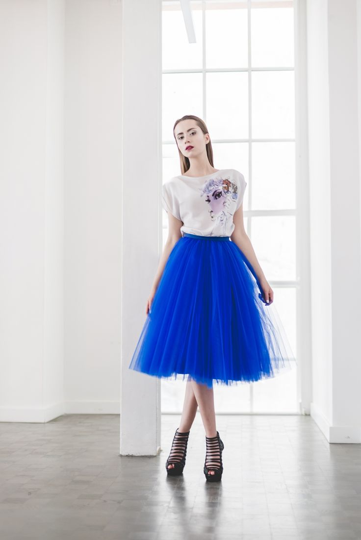Illustrated silk blouse T067. A blouse which combines sophistication and gentleness of silk with unique stylistics of Anna Halarewicz's illustration.  Tulle skirt S031, cobalt.