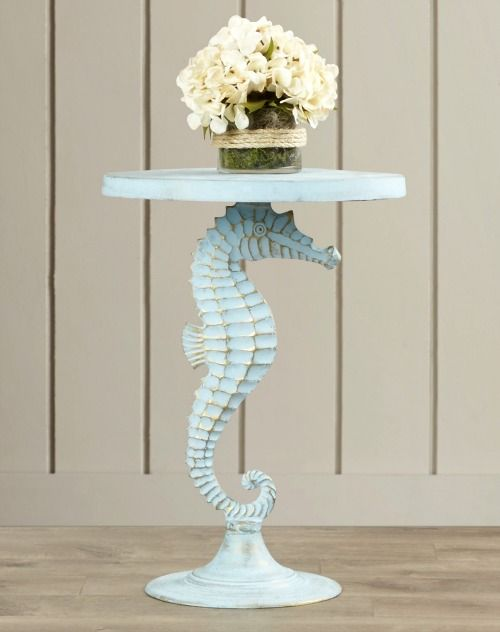 Blue Coastal Seahorse Table... http://www.completely-coastal.com/2016/01/coastal-nautical-accent-tables-side-end-tables.html