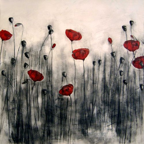 #Poppies oil and charcoal on canvas - 100 x 100 cm 2006 Danish artist Henrik Simonsen engages with a Western tradition of flower paintings and still life, approaching it in a contemporary way. His charcoal drawings, prints and paintings are steeped in the Scandinavian tradition of art and design inspired by natural elements.