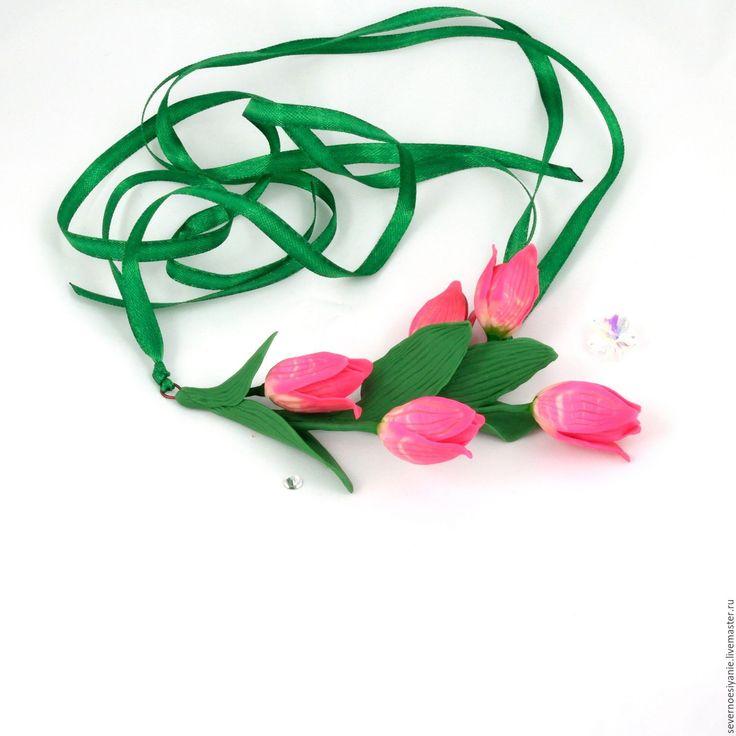 Купить Подвеска из полимерной глины Тюльпаны - тюльпаны, розовый, цветы, цветы ручной работы
