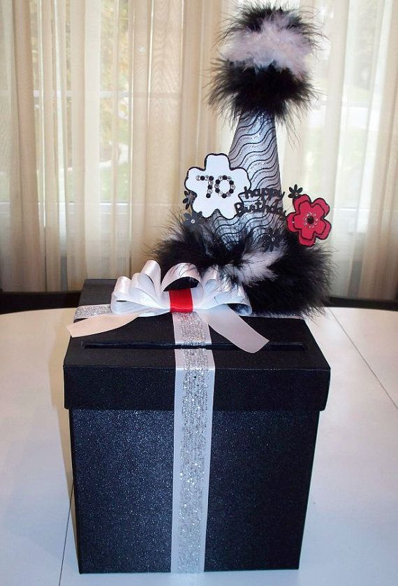 Birthday card box money gift box birthday table for Decoration 70th birthday