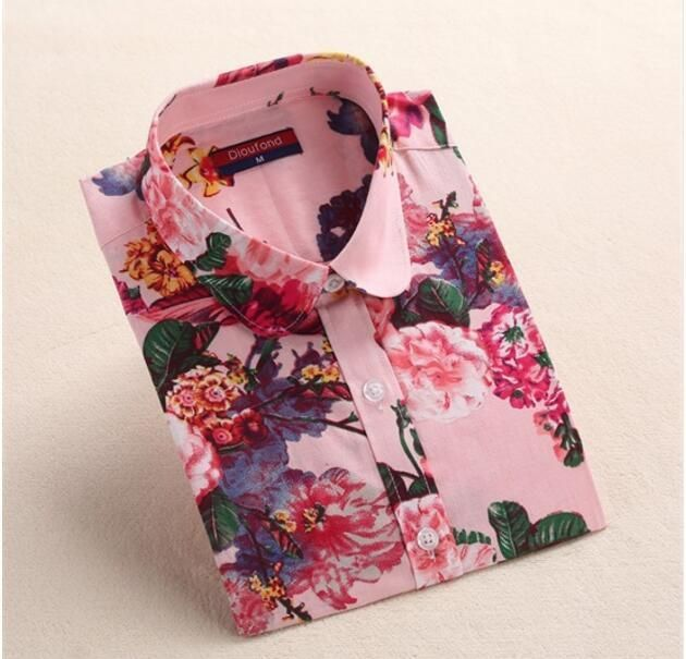 79ed1e00e88 Dioufond Women Cherry Blouses Long Sleeve Shirt Turn Down Collar Floral  Blouse Plus Size 5Xl Women