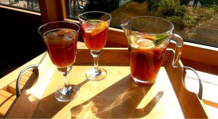 The quintessential British summertime beverage - Pimms Iced Tea.