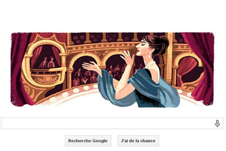La page d'accueil de Google fête l'anniversaire de la naissance de la cantatrice à travers ce Doodle, c'est-à-dire un logo dessiné représentant la diva née il y a 90 ans au coeur d'un opéra.
