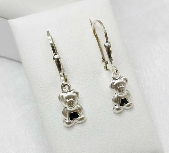 Kinder  Bären Ohrringe Bärenohrhänger 925 Silber von myduttel