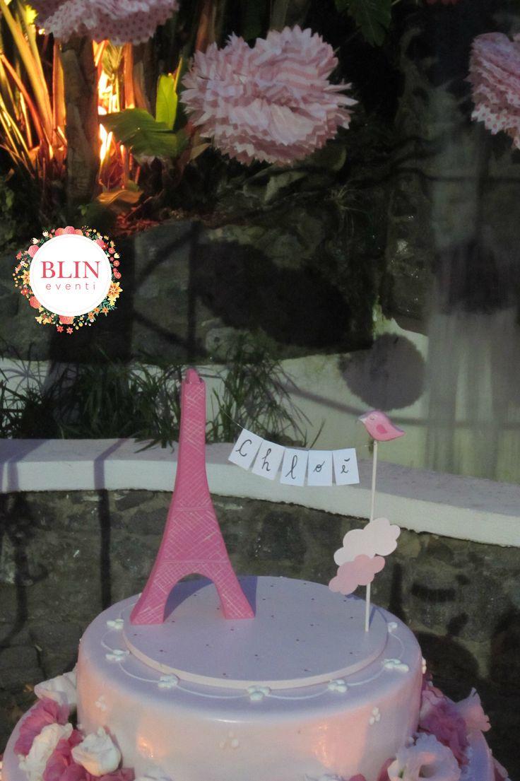 Cake Topper Battesimo Baby Parigi Torre Eiffel by Blin Eventi www.blineventi.it