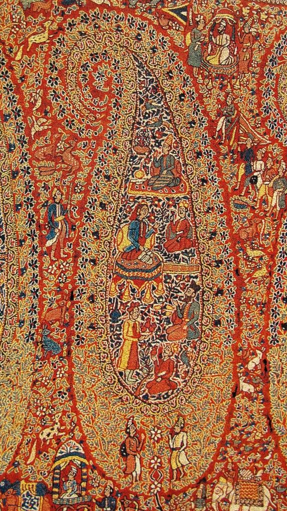 Kashmir Paisley Pashmina Amlikar Jamawar Shawl. Sikh – Dogra Period. Kashmir. 19th Century. Suzani on Kani Woven Shawl.