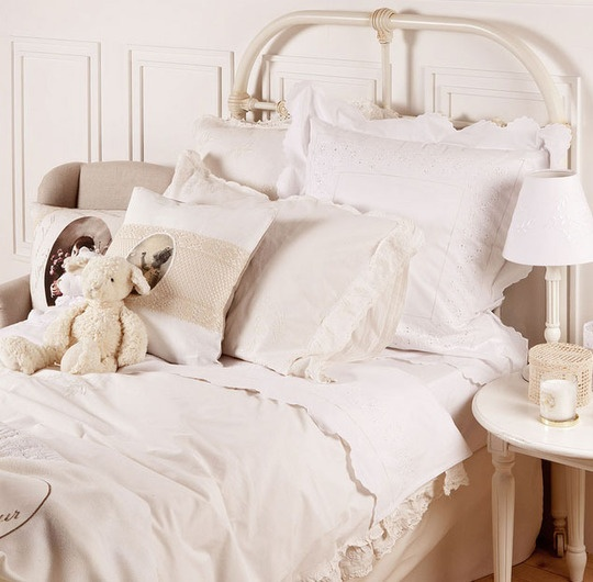 Lace applique onto cushions   Kids Room Trend: White Lace Bedrooms   Apartment Therapy