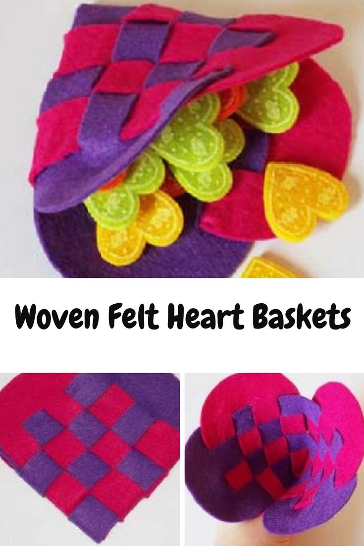These woven felt heart baskets are quick and easy to make.