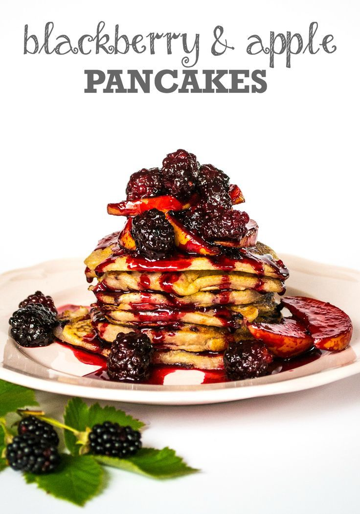 These sweet and fluffy Blackberry & Apple pancakes (vegan) are delicious piled up with apples and blackberries, (fresh or frozen). Quick & easy, a delicious treat for brunch.