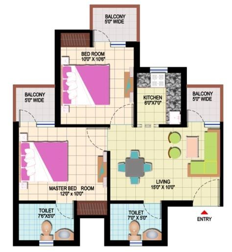 Amrapali Leisure Park- 2 BD + 2 Toilet   Saleable Area = 845 sq. ft.