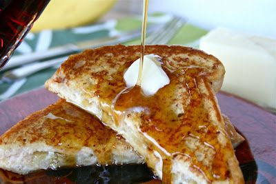 CARAMELIZED BANANA & CREAM CHEESE FILLED FRENCH TOAST    FOR REALS, GUYS. YOU ALL NEED TO MAKE THIS. RIGHT NOW. I POSTED THIS RECIPE TODAY FOR A REASON. TOMORROW IS SATURDAY! A PERFECT DAY TO SLEEP IN, RELAX AND ENJOY A DECADENT BREAKFAST. YOU MIGHT EVEN HAVE TIME TO GO FOR A NICE LONG RUN TO BURN OFF ALL THOSE EXTRA CALORIES TOO! HAHA! JUST KIDDIN