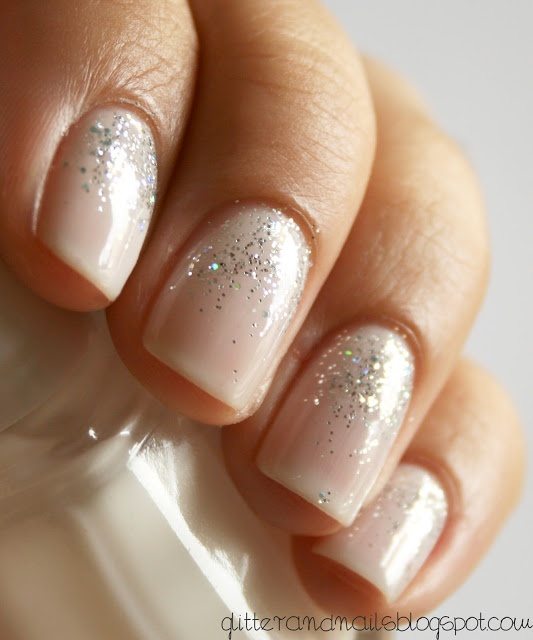glitter and nude nails