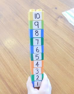 Duplo number line - could just use a sharpie pen. Will work for alphabet too.