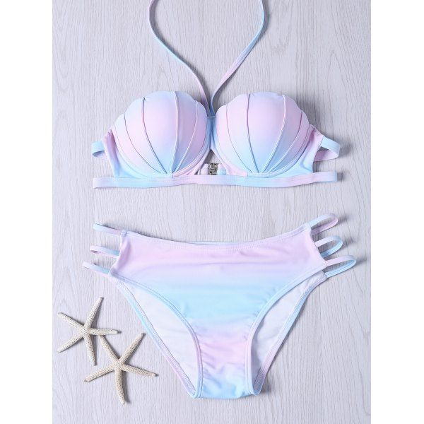 $13.15 Sweet Halter Neck Ombre Design Bikini Set - M