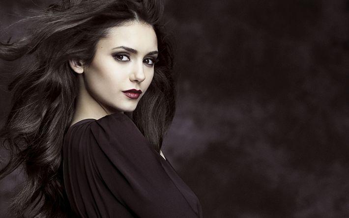 Descargar fondos de pantalla Nina Dobrev, retrato, para la morena, la actriz canadiense, vestido negro, mujer hermosa