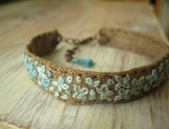 Teal Ombre Embroidered Bracelet by Sidereal on Etsy