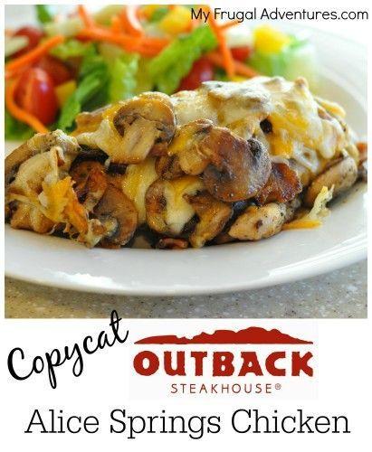 Copycat Alice Springs Chicken Recipe- mushrooms, ooey gooey cheese and bacon!  So delicious!