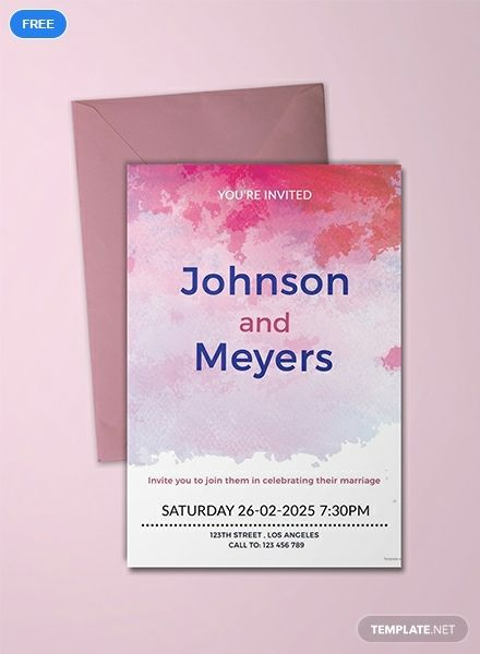 A vibrant invitation template that makes use of watercolor designs. Download this for free to
