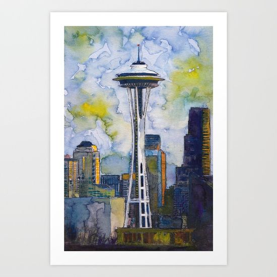 """I would love to move to Seattle one day! But for now, I just pick out parts of the city that are interesting and paint them. In this original watercolor, I featured the Seattle Space Needle as the focal, but also used lots of color in the sky to add interest and drama.<br/> <br/> Title: """"Seattle Space Needle""""<br/> Medium: Watercolor & Inks"""