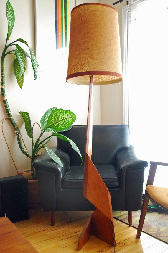 Zig Zag Teak floor lamp Mid Century Denmark from 1960's **PICK UP ONLY on Etsy, £196.29